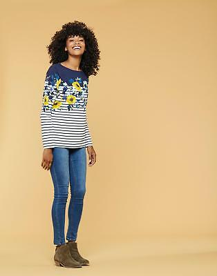 Joules Women's Harbour Jersey with Printed Design in Navy & Gold Camellia Border