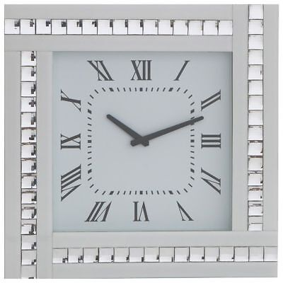 White Square Clock with White Mirrored Glass Frame Modern Home Decor Litecraft
