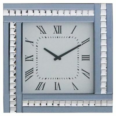 Smoke Square Clock with White Mirrored Glass Frame Modern Home Decor Litecraft
