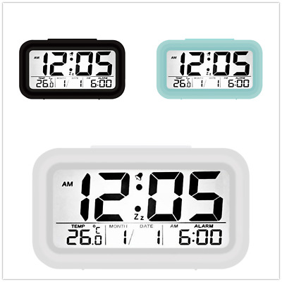 Digital Alarm Clock With Snooze & Nightlight, Battery Operated Temperature Smart