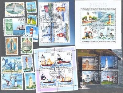 Lighthouses 25 all different stamps collection