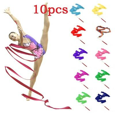 UK 10X Gym Dance Ribbon Rhythmic Art Gymnastic Streamer Baton Twirling Rod 2M