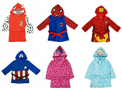 Official Kids Character Hooded Fleece Dressing Gown Dress UP Boys Girls Bathrobe