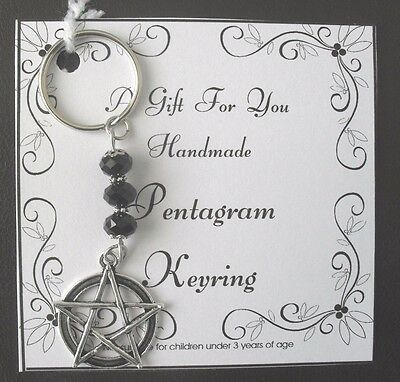 Gift Handmade Pentagram  Keyring With Black glass beads, Present wicca pagan