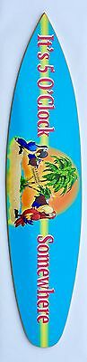 MargaritavilIe -  It'  5 O'Clock Somewhere Surfboard - Whimsical Parrots Graphic