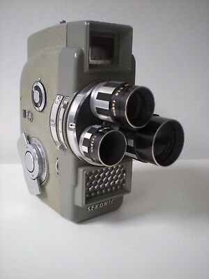 Vintage Sekonic Elmatic 8, 8mm Movie Camera with original leather case and owner
