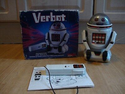 Vintage Tomy Verbot Voice Activated Programable Robot Toy + Box + Instructions