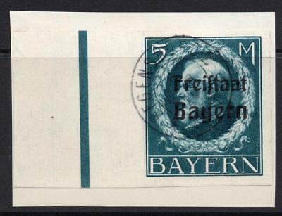 Bayern (Bavaria) 5 Mark Imperf Stamp c1920 Fine Used on Piece (second issue)