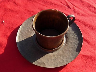 Arts & Crafts Mission style CRAFTSMAN HAMMERED COPPER  Hand Made Cup Saucer RARE