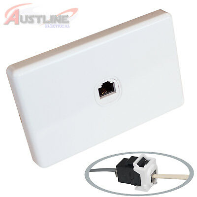 1 Port Gang RJ11 Phone Wall Plate Clipsal Style Cat 3 Coupler F/F AW x2 +C-Clip