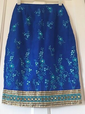 Monsoon Silk Royal Blue Skirt With Sequins / Embroidery / Ribbon Size 12