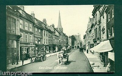 CHICHESTER,EAST ST WITH SHOPS & TRAFFIC,vintage postcard