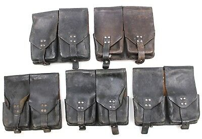 LOT OF 5 x AUSTRIAN ARMY STG BLACK LEATHER DUO AMMO POUCH POUCHES