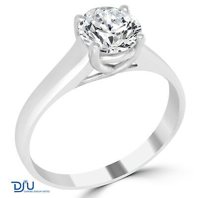 1 Ct Round Cut SI2/F Diamond Engagement Ring 14K White Gold