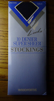 Vintage Woolworths 10 Denier Super Sheer Stockings One Size Navy