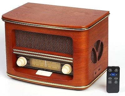 Nostalgie Holz Radio Retro Musikanlage CD MP3 USB Player Nostalgieradio NEU