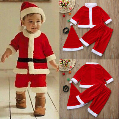 Christmas Toddler Kids Baby Boys Party Clothes Costume T-shirt+Pants+Hat Outfits