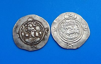 Sassanian Lot Of 2 Coins Silver