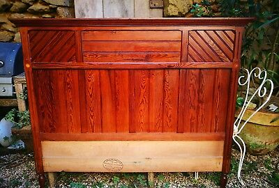 Kingsize 5ft ANTIQUE FRENCH Pitch Pine Henri II Style Headboard