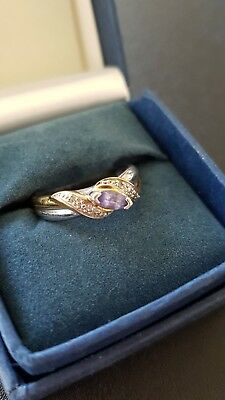 Tanzanite And Diamond Embrace Ring Size N To O New Certificate Of Authenticity