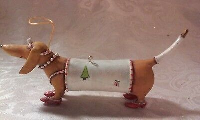 Dept 56 Patience Brewster Krinkles Dachshund Dog Ornament w/Halo