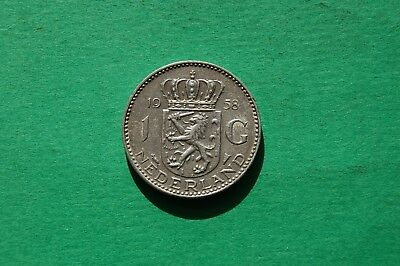 1958  One (1) Gulden Netherlands Silver Coin - Queen Juliana
