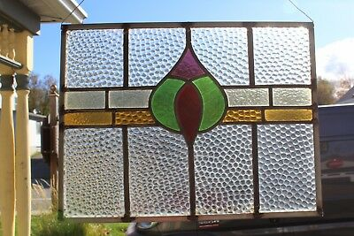 Small Hanging Victorian Antique  Leaded Glass Window With A Nice Design