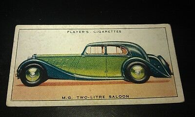 1936 MG 2-LITRE  SALOON  -     Orig Cigarette Card UK