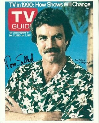 TOM SELLECK hand-signed MAGNUM PI 8x10 authentic w/ coa TV GUIDE COLOR CLOSEUP