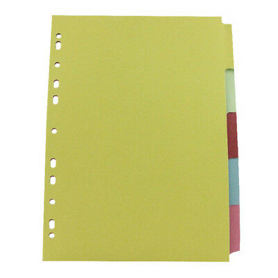 A4 File Dividers Tabbed Multi Punched Coloured card - School, office, home
