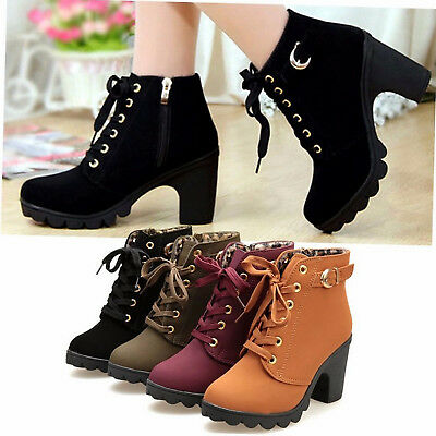 Womens High Heel Lace Up Ankle Boots Ladies Zipper Buckle Platform Martin Shoes