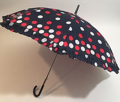 Vintage Umbrella Blue With Red And White Polka dots Curved Handle New with tags