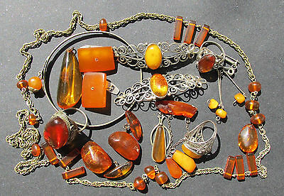 VINTAGE NATURAL,PRESSED BALTIC AMBER JEWELRY 92g.