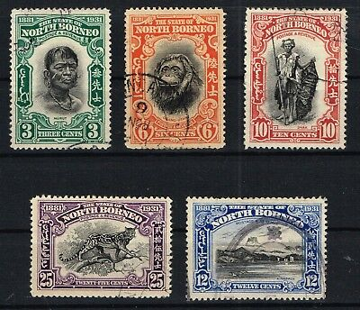 North Borneo 1931 Anniversary issue to 25c used (5 values)