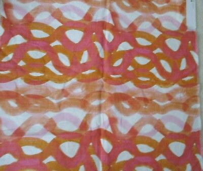 CHRISTOPHER FARR Upholstery Fabric Sample Remnant ~ Pink & Orange ~ 100% Linen