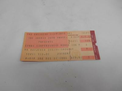 Old Vtg 1986 CYNDI LAUPER EDDIE MONEY Concert Ticket Richfield Coliseum Ohio