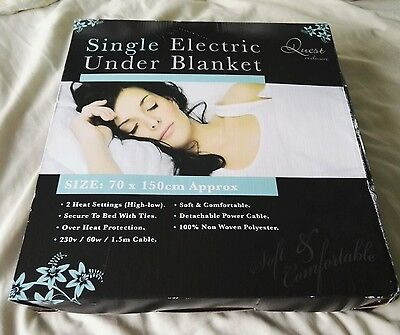 Quest Single bed Electric Under Blanket 70x150cm Auto Overheat Protection winter