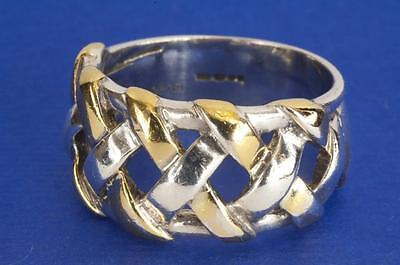A Heavy Solid Sterling Silver (Gold Plated) Plaited Band Ring Size Q (Us 8.25)