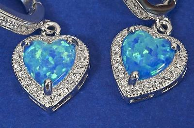 A New Pair Of Black Opal & Created Diamond Heart Earrings Set In Sterling Silver