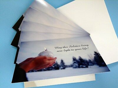 Set of 5 Winter Solstice Yule Cards Wicca Pagan Humanist Festive Yuletide