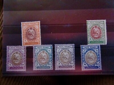 Persia 1909 Scott# 448--450 and 456,457,459 mint Coat of Arms