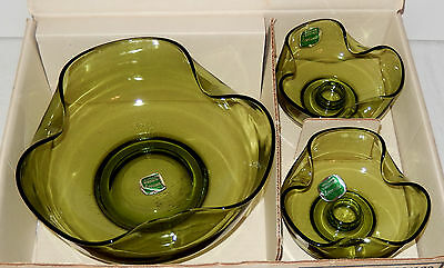 Vtg retro Anchor Hocking green glass console bowl candle holders box set