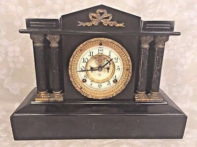 Ansonia Open Escapement Clock Porcelain Face Iron Case Runs
