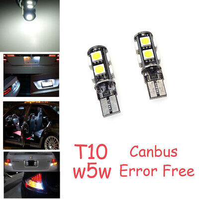 2X W5W 9SMD LED T10 12V CANBUS Kalt Weiß Hell Innenraumbeleuchtung Standlicht