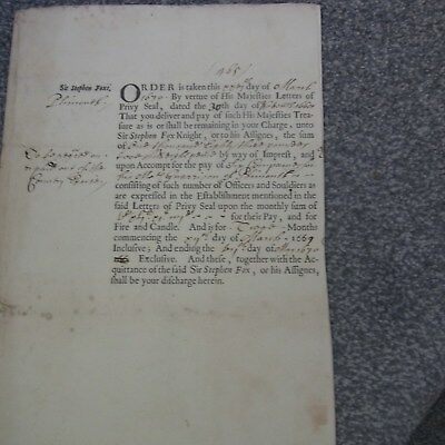 Exchequer Warrant Plymouth Related 1690