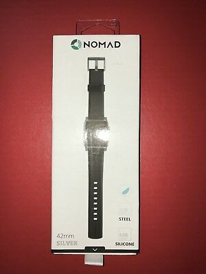 Nomad – Silicone Watch Strap for Apple Watch 42mm - Black w/ Silver Lugs