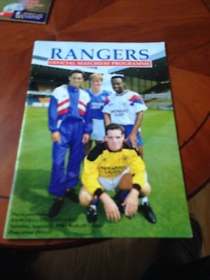 Rangers Programme Aug 1990 Vs Dynamo Kiev pre Season Friendly