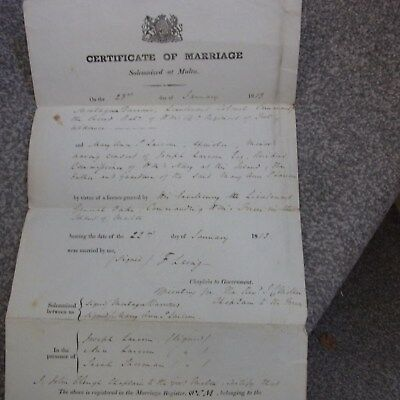 Marriage In Malta Document 1813 Printed Form
