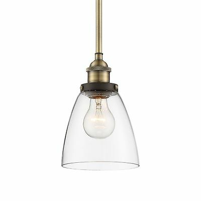 "Revel Porter 8"" Industrial Pendant Light + Mini Glass Shade, Antique Brass + ..."