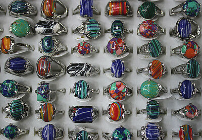 10pcs Wholesale mixed Lots colorful natural stone Lady's Fashion rings
